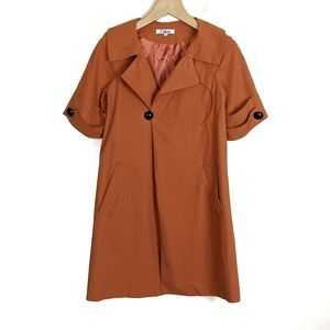 Chloe Short Sleeve Coat Midi Length Orange Coat
